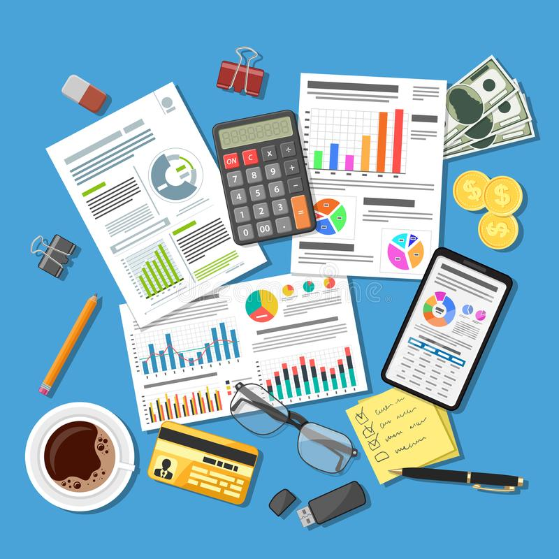 Auditing, Tax Process, Accounting Concept. Auditing, Tax process calculation, accounting Concept. Checks financial report. Charts on Documents and Smartphone vector illustration