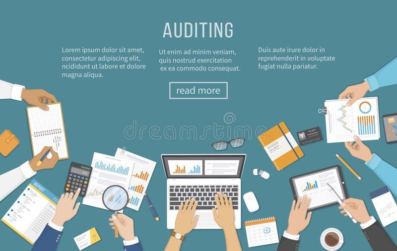 Auditoría de la reunión de negocios, cálculo, análisis de datos, información, contabilidad Gente en el escritorio en el trabajo M libre illustration