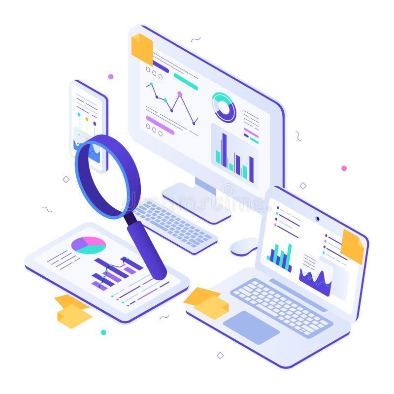 Auditoría financiera en línea Métrica isométrica de la página web, tableros de instrumentos estadísticos de los gráficos y vector stock de ilustración