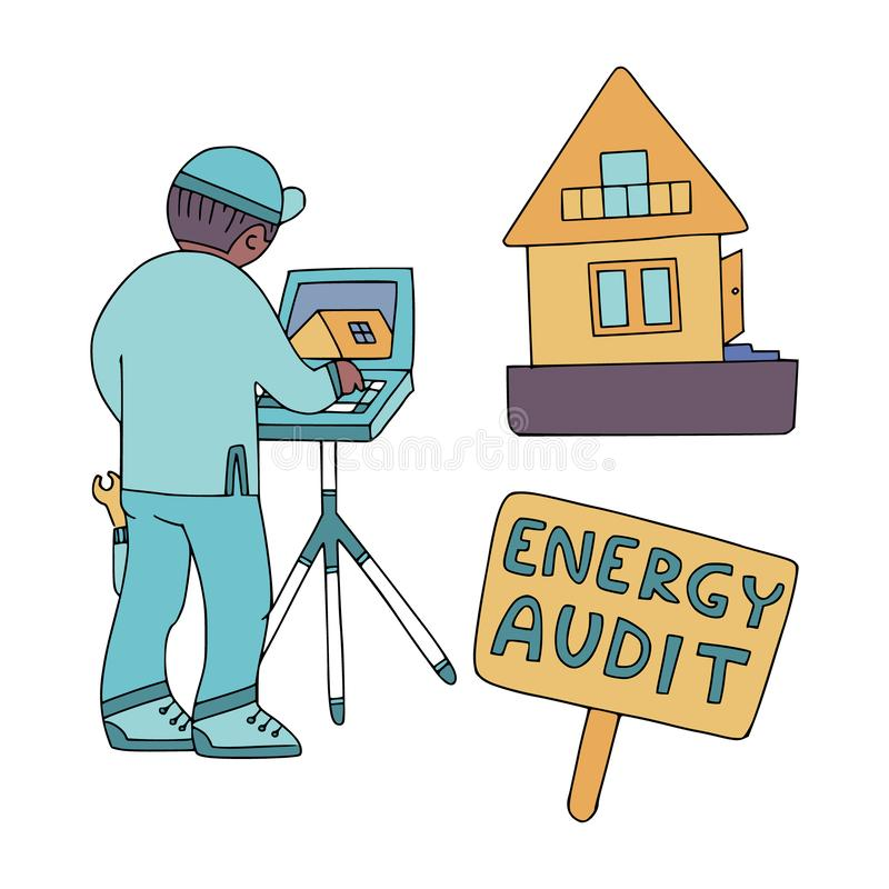 Auditor?a de energ?a 1 similar stock de ilustración