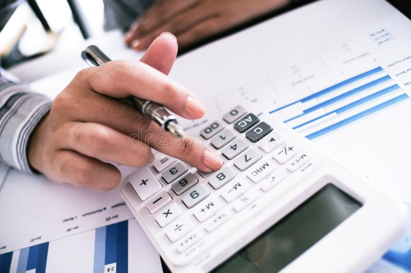 Auditor or internal revenue service staff, Business women checking annual financial statements of company. Audit Concept.  royalty free stock photo