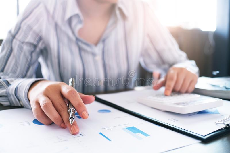 Auditor or internal revenue service staff, Business women checking annual financial statements of company. Audit Concept.  stock image