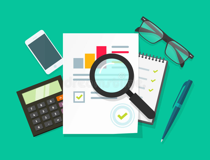 Auditor work desk, accounting business research, financial audit, tax report royalty free illustration
