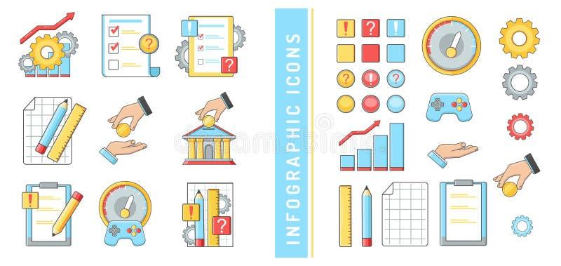 A auditoria dos bancos da finança do negócio do infographics dos ícones faz um mapa do dinheiro de mãos das respostas das pergunt imagens de stock royalty free