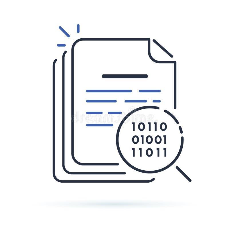 Auditoria esperta do contrato ou ícone esperto da revisão de contrato Eletro principal ilustração stock