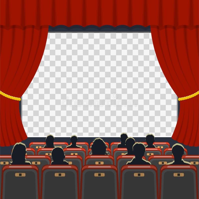 Auditorio del cine con los asientos y la audiencia stock de ilustración