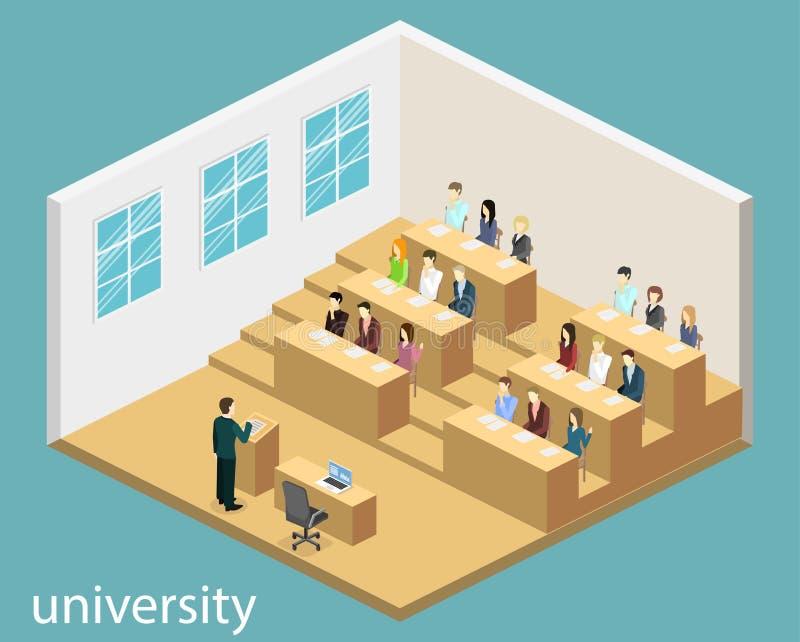 Auditorio interior de la universidad del concepto plano isométrico 3D ilustración del vector