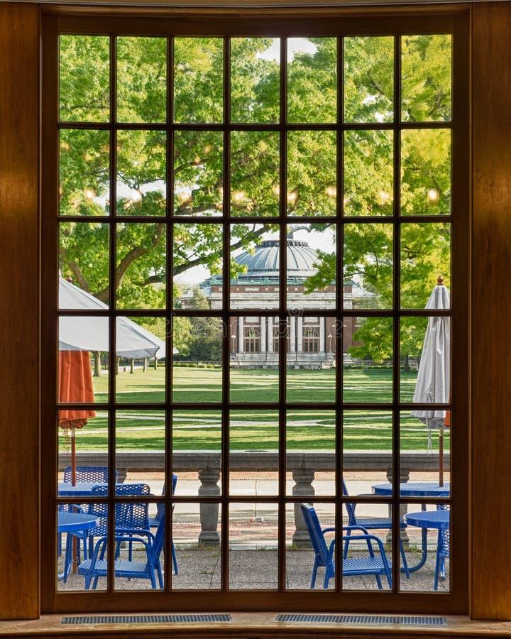 Auditorium through bay window frame