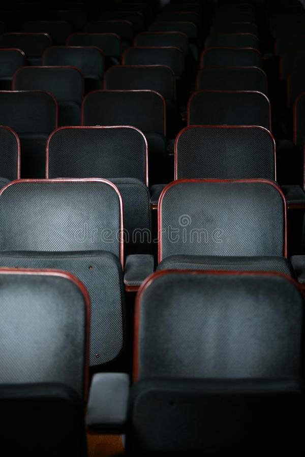 Auditorium. Empty theater auditorium chairs detail stock photography