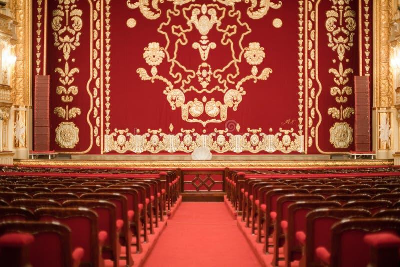 Auditorium en gordijn stock foto's