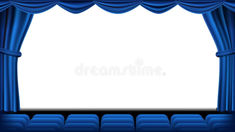 Auditorium met plaatsingsvector Blauw Gordijn Theater, het bioskoopscherm en zetels Stadium en Stoelen Blauw Gordijn Theater royalty-vrije illustratie
