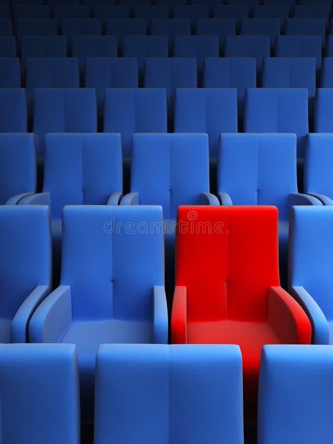 Auditorium mit einem roten Sitz stockbild
