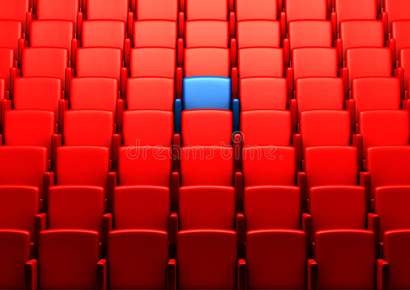 Auditorium With One Reserved Seat Stock Photo