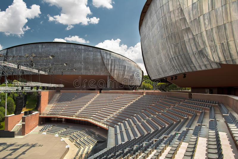 Auditorium Parco della Musica Rome Roma. View of Auditorium Parco della Musica by the famous architect Renzo Piano. Rome, Italy. Photo taken on: June 29th, 2013 royalty free stock photo