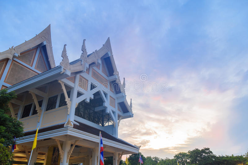 Auditorium in Phutthamonthon with a clouds and blue sky. royalty free stock photo