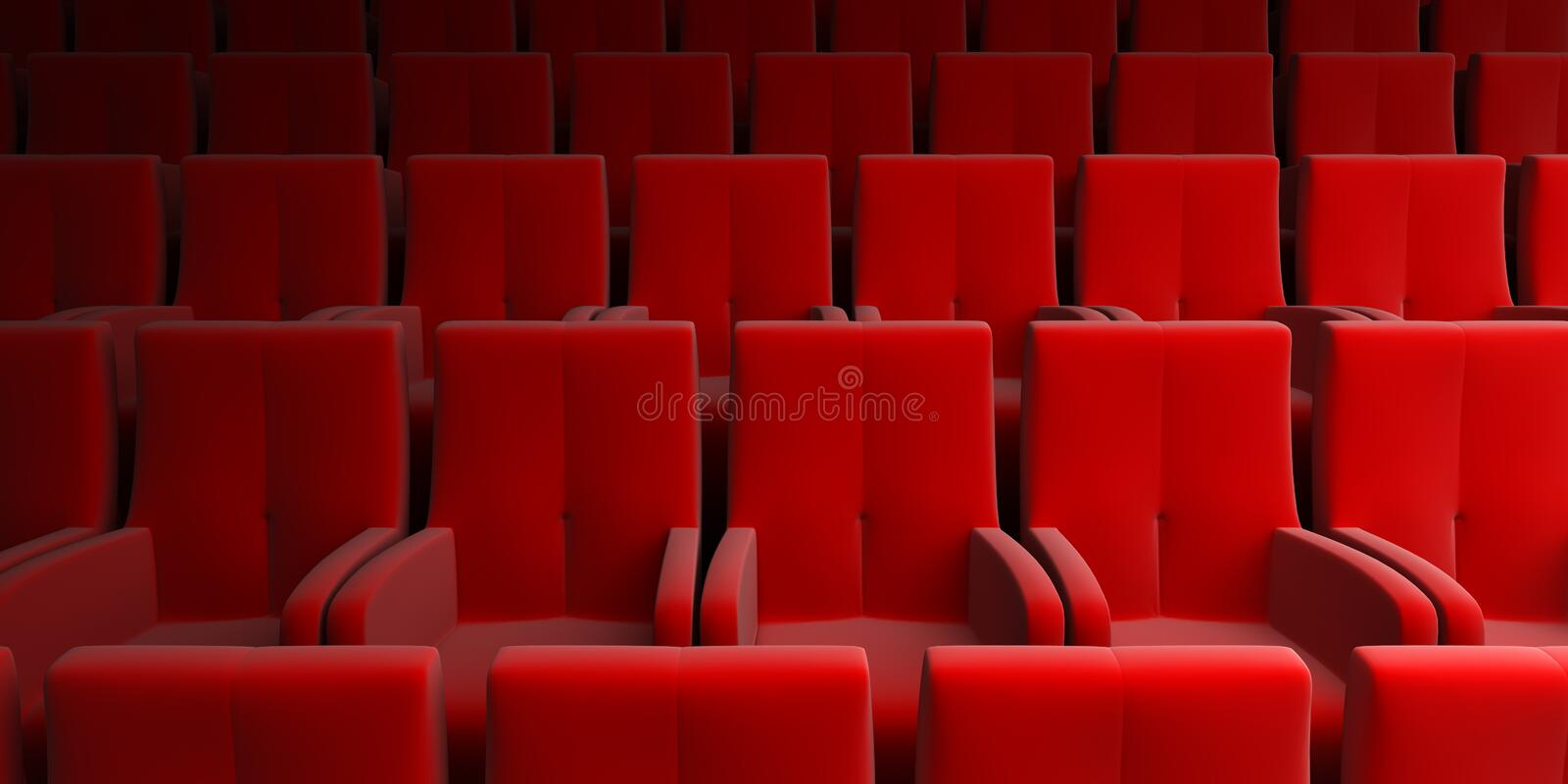 Auditorium with red seats. The auditorium with red seats royalty free illustration