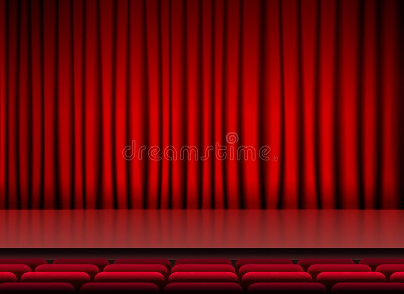 Auditorium stage theater with red curtains and seats royalty free illustration