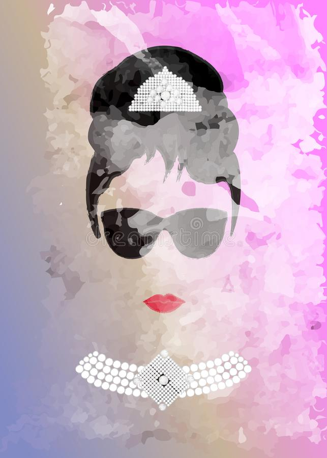 Audrey Hepburn, with black glasses, vector portrait, watercolor style stock illustration
