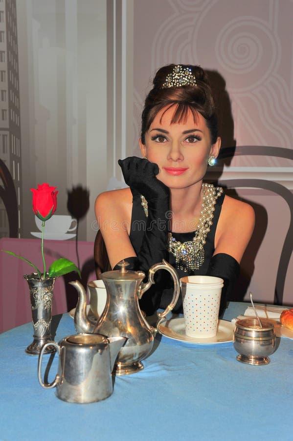 Audrey Hepburn en señora Tussaud en Viena fotos de archivo