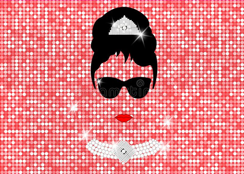 Audrey Hepburn, with sunglasses, vector portrait isolated or gold rose glitter texture royalty free illustration