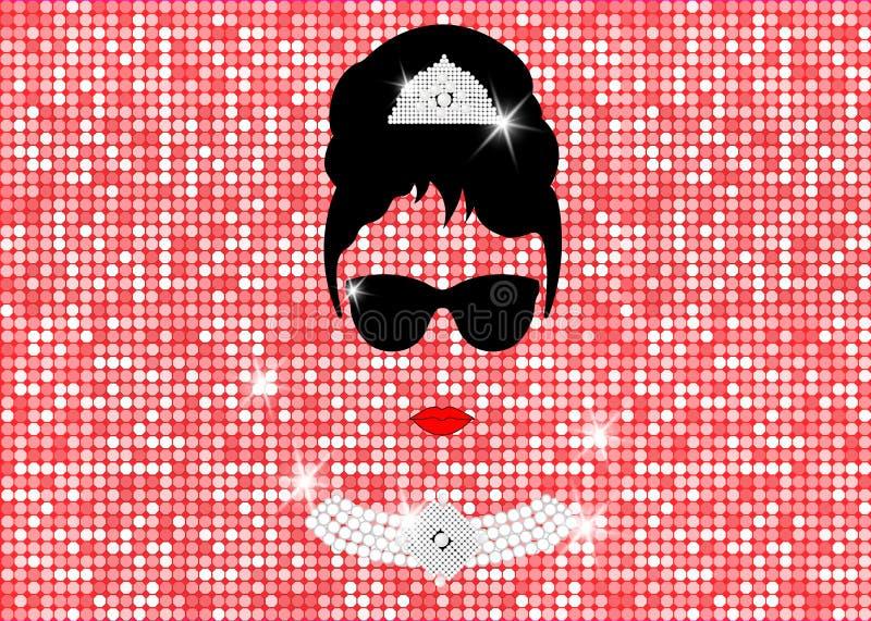 Audrey Hepburn, z okularami przeciwsłonecznymi, wektorowym portretem odizolowywającym lub złoto róży błyskotliwości teksturą, royalty ilustracja