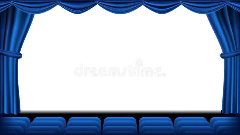 Audytorium z miejsca siedzące wektorem niebieska zasłona Teatr, kino ekran i siedzenia, Scena i krzesła niebieska zasłona teatr royalty ilustracja