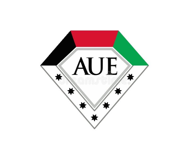 AUE, Amerykański uniwersytet w emiratu logo wektorze ilustracji