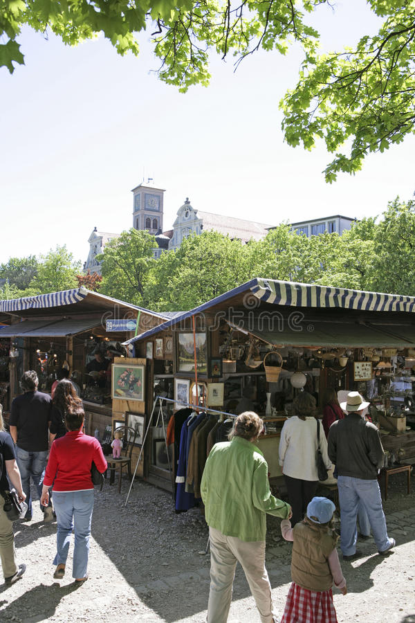 Auer Dult Flea Market in Munich, Bavaria. Antiques at the Auer Dult fair in Munich Bavaria Germany, Europe stock photos