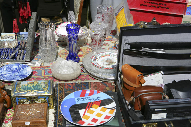 Auer Dult Flea Market in Munich, Bavaria. Antiques at the Auer Dult fair in Munich Bavaria Germany, Europe stock photography