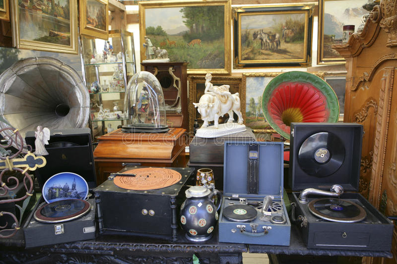 Auer Dult Flea Market in Munich, Bavaria. Antiques at the Auer Dult fair in Munich Bavaria Germany, Europe stock photo