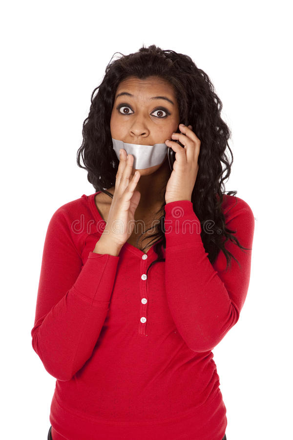 Auf Band aufgenommenes Telefon des Afroamerikaners Mund stockfotos