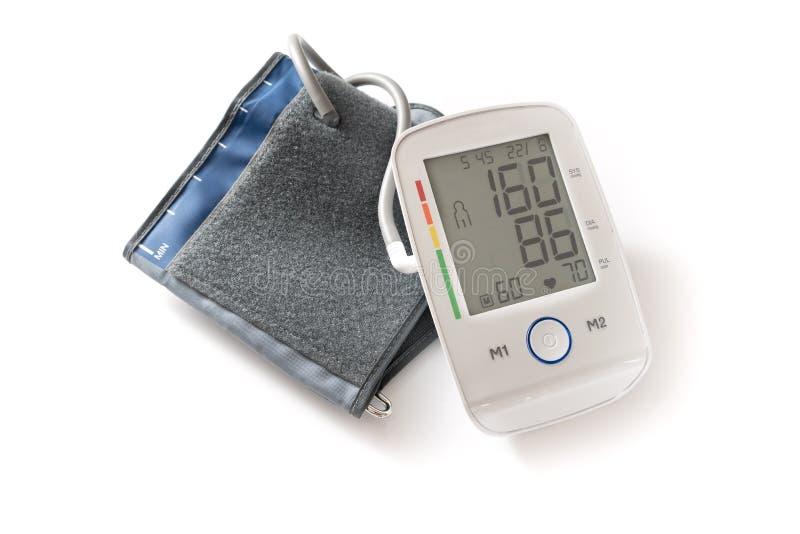 Auf de la hipertensión del zeigt del indicador del blutdruck de oder del Sphygmomanometer imagen de archivo