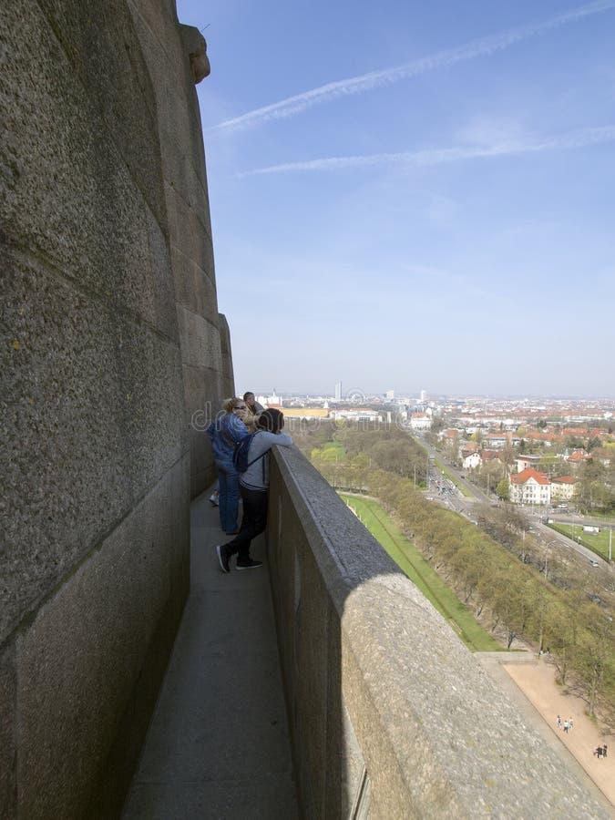 Auf dem Dach des Monuments zum Kampf der Nationen, Leipzig lizenzfreies stockfoto