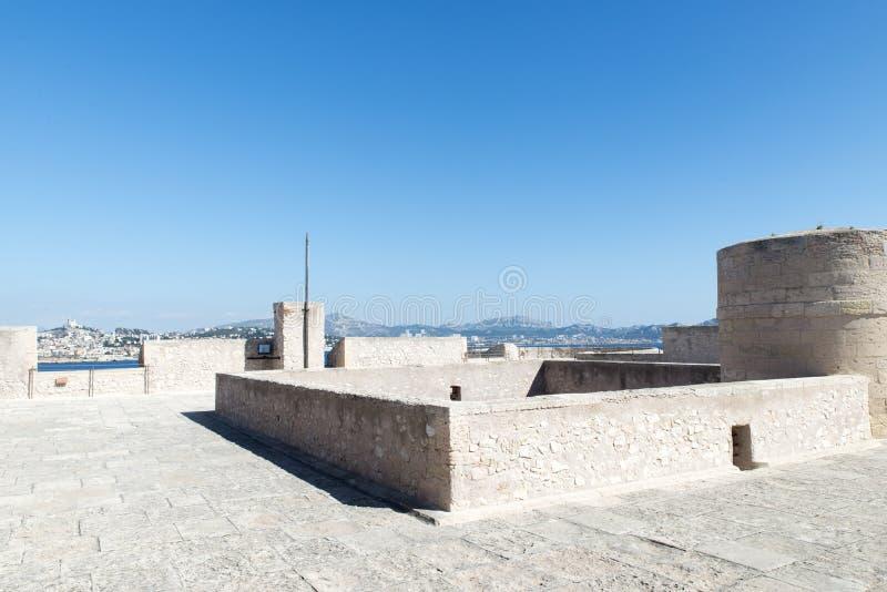 Auf dem Dach von Chateau d'If, Marseille, Frankreich stockbilder
