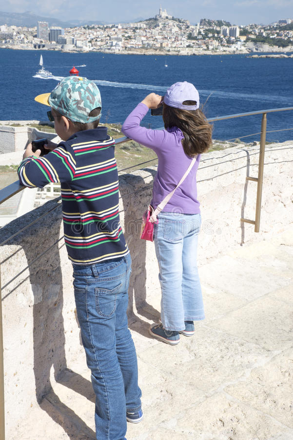 Auf dem Dach von Chateau d wenn, Marseille, Frankreich lizenzfreies stockbild