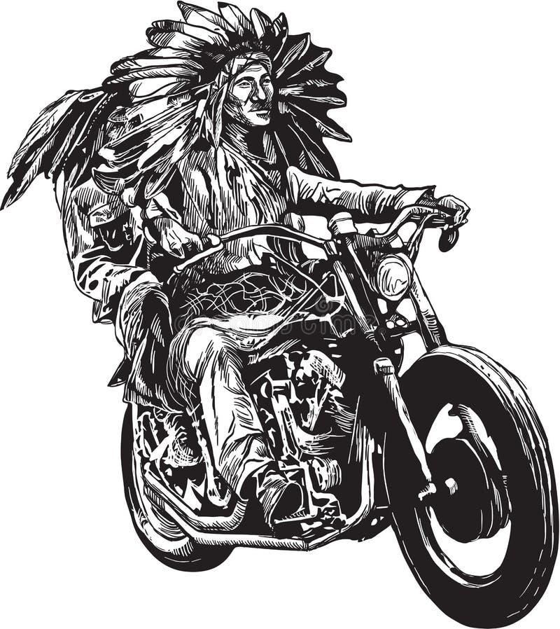 Auf dem Fahrrad - amerikanische Ureinwohner fahren ein Motorrad lizenzfreie abbildung