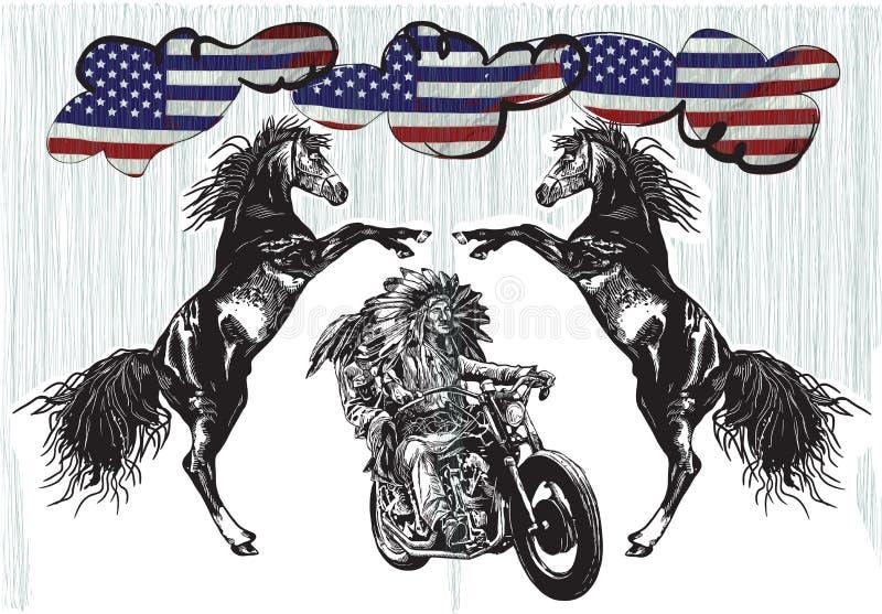 Auf dem Fahrrad - amerikanische Ureinwohner fahren ein Motorrad stock abbildung