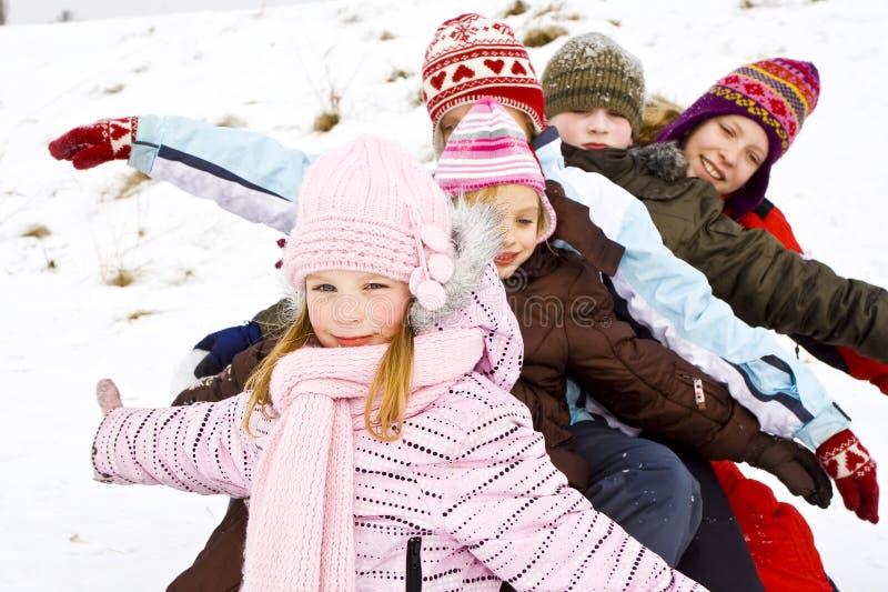 Auf dem Schnee stockfoto
