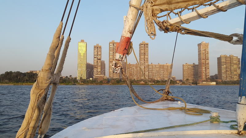 Auf dem Segelboot beim Nil stockbilder