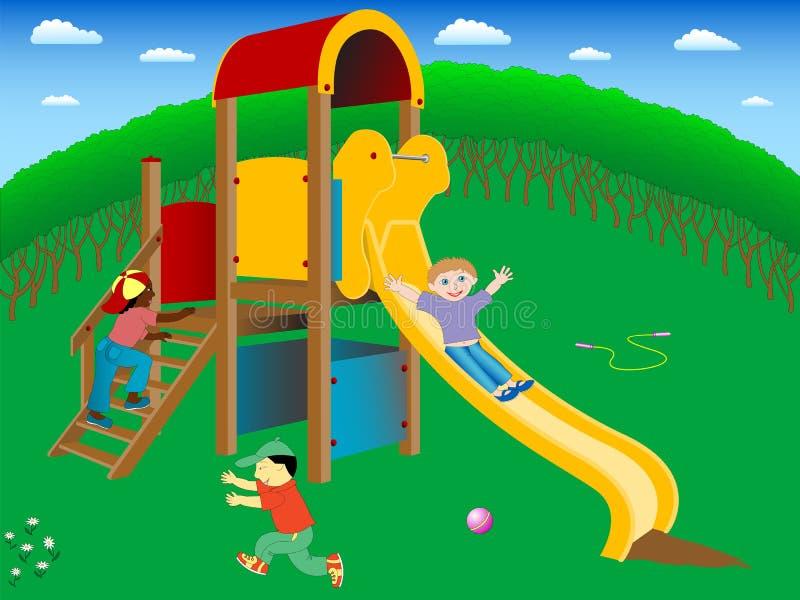 Auf dem Spielplatz. lizenzfreie abbildung