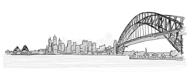 Auf den Dächern von handdrawn Skizze Sydneys lizenzfreie abbildung