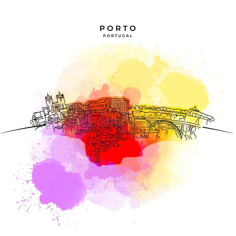 Auf den Dächern von Porto stock abbildung