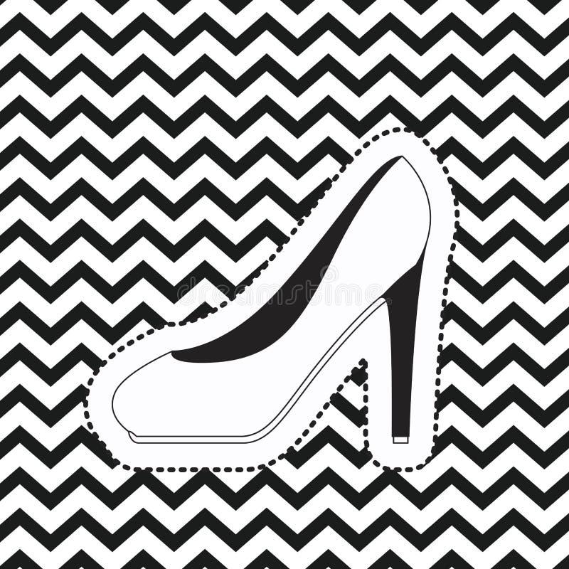 Auf den Fersen gefolgter Schuhaufkleber auf linearem einfarbigem Hintergrund des Pop-Arten-Zickzacks vektor abbildung