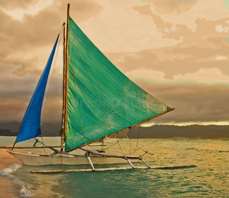 Auf den Strand gesetzter Ausleger, Boracay-Insel, Philippinen lizenzfreie stockfotos