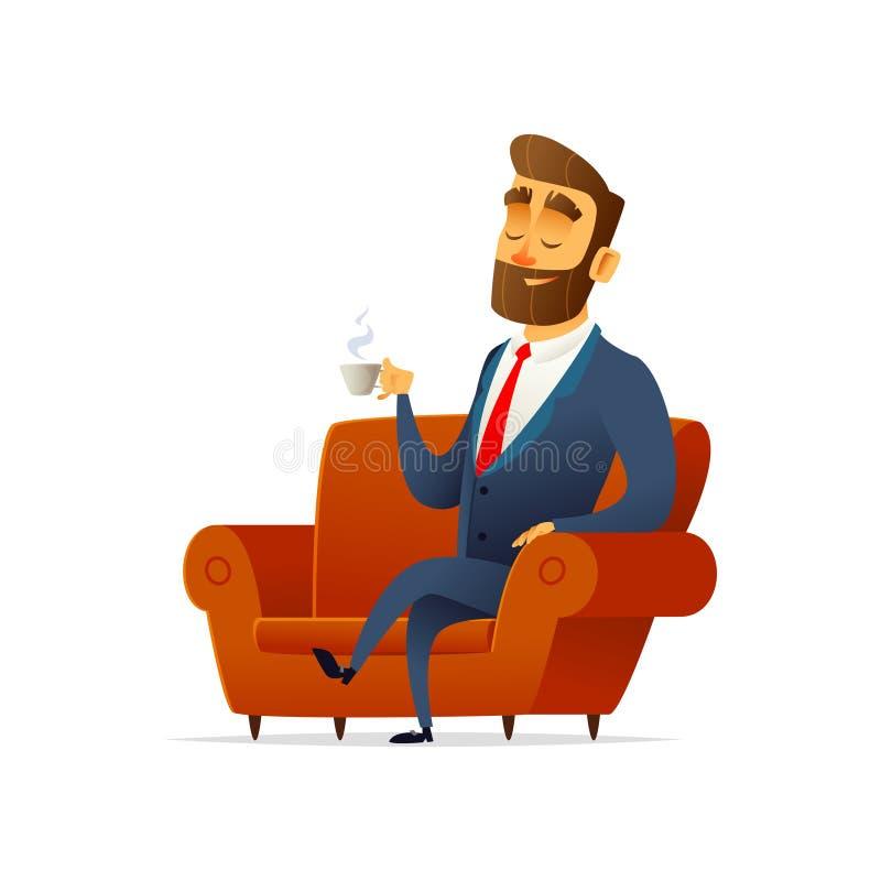 Auf der Couch sitzender und stillstehender Geschäftsmann, trinkender Tee Der Manager hält einen Becher Kaffee lizenzfreie abbildung