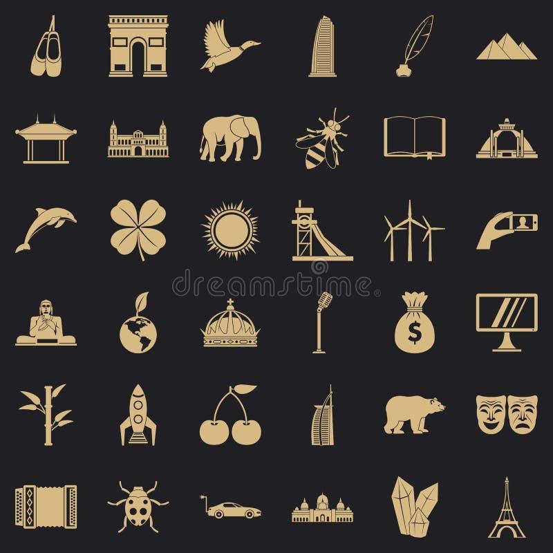 Auf der ganzen Welt stellten Ikonen, einfache Art ein lizenzfreie abbildung