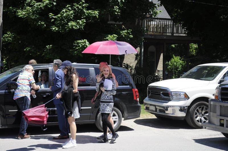 Auf der Standort ` Schitt-` s Nebenfluss ` Filmwiederholung, die Kanadisch-amerikanische Schauspielerin, ` Hara Catherine O kennz stockbild