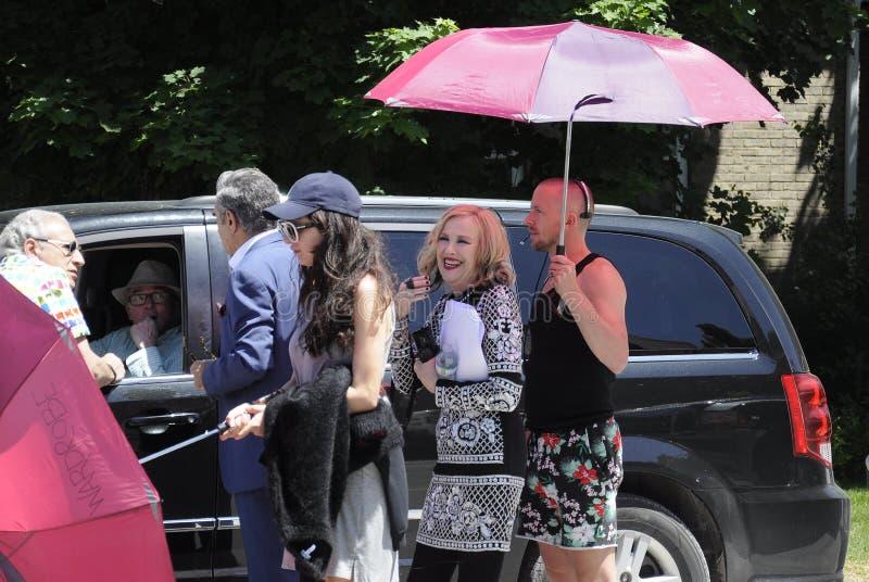 Auf der Standort ` Schitt-` s Nebenfluss ` Filmwiederholung, die Kanadisch-amerikanische Schauspielerin, ` Hara Catherine O kennz lizenzfreie stockfotos