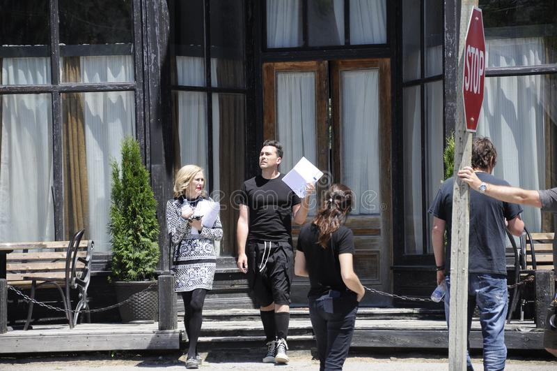 Auf der Standort ` Schitt-` s Nebenfluss ` Filmwiederholung, die Kanadisch-amerikanische Schauspielerin, ` Hara Catherine O und K lizenzfreie stockbilder