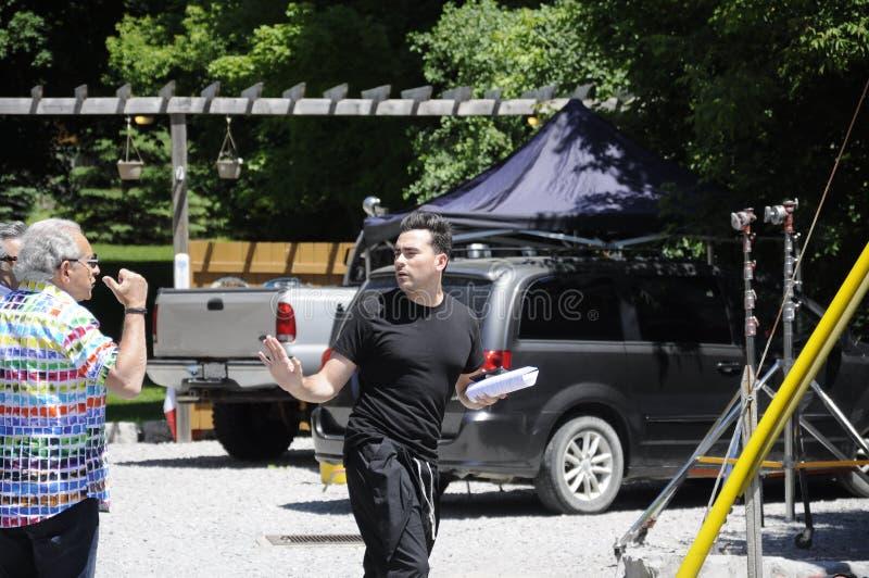 Auf der Standort ` Schitt-` s Nebenfluss ` Filmwiederholung, die kanadischen Schauspieler, Daniel Levy kennzeichnet lizenzfreies stockfoto